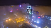 Downtown Raleigh in the Fog at night