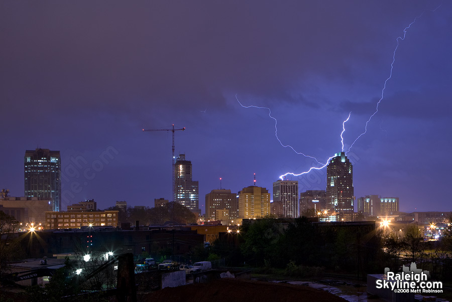 City Lightning over downtown Raleigh