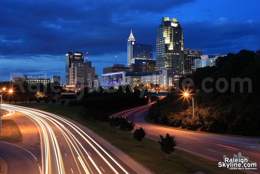 Traffic streams into downtown Raleigh
