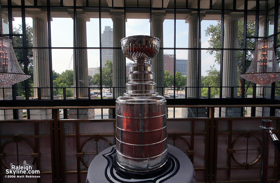 The Stanley Cup in all its glory in Downtown Raleigh