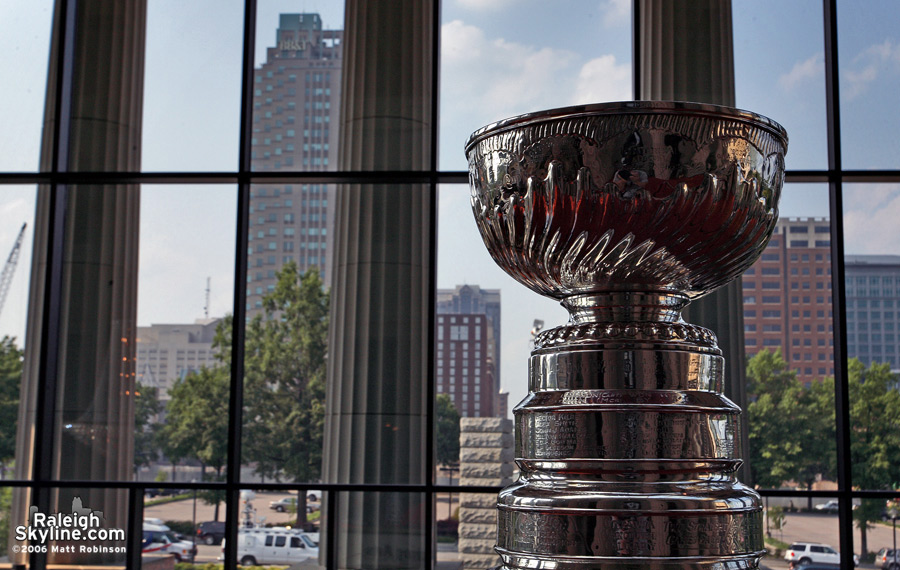 Raleigh skyline and the Stanley Cup