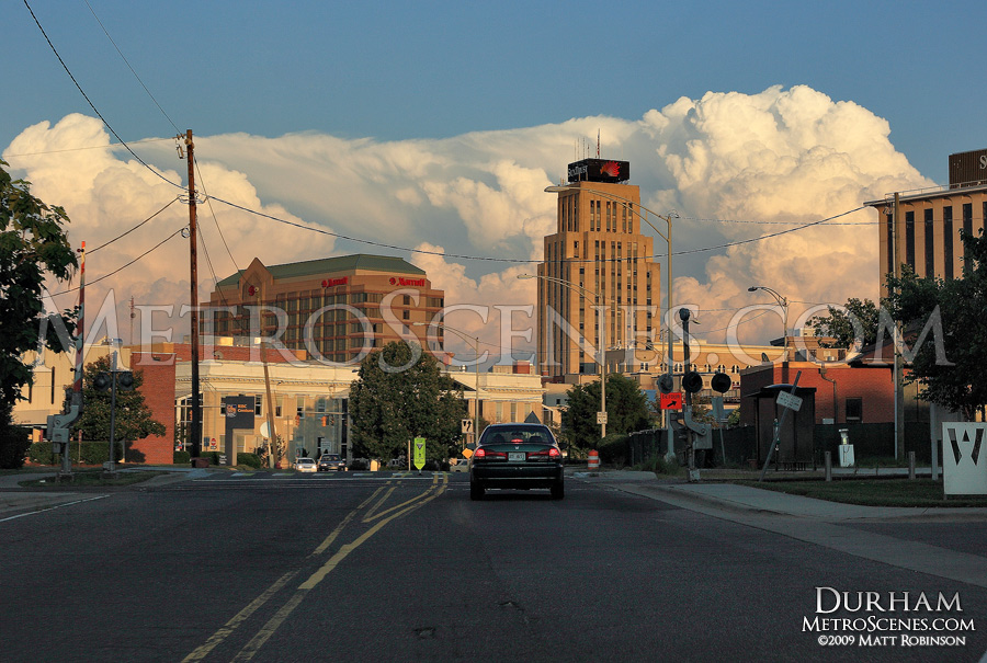 Storms in Goldsboro compete with the Durham skyline