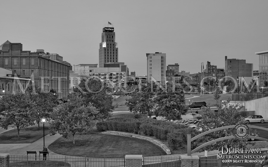 Downtown Durham Skyline in Black and White