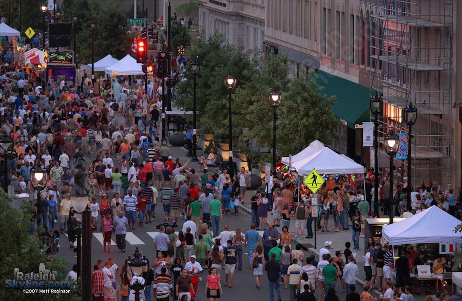 Crowed street.