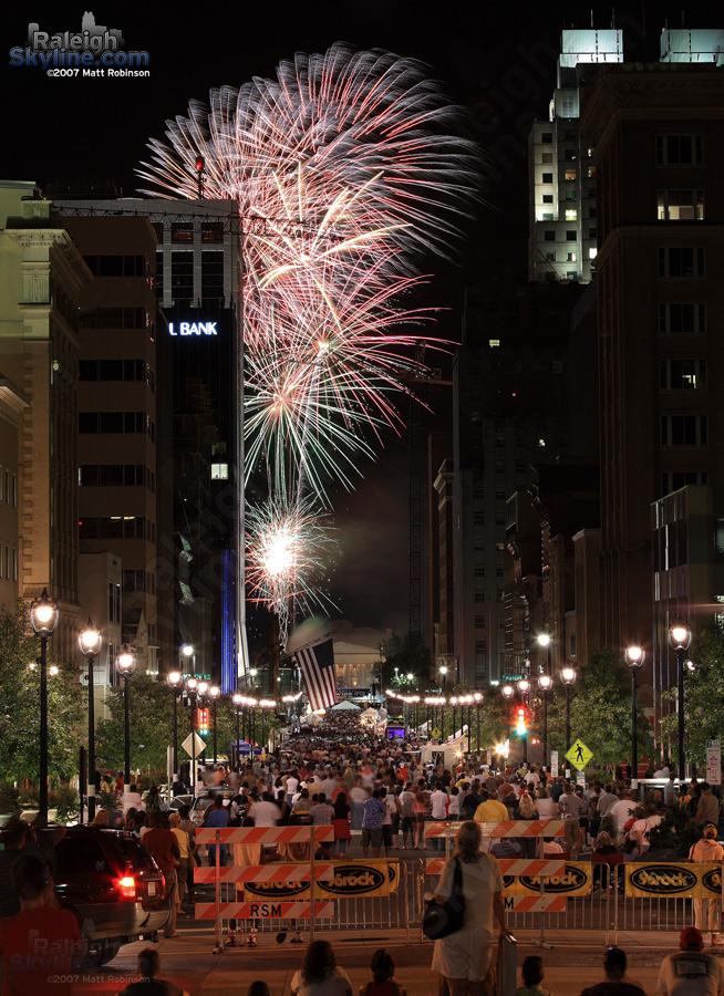 Raleigh Wide Open fireworks begin.