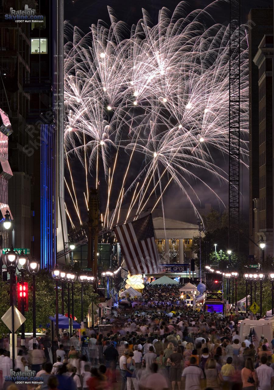 Fireworks over Fayetteville Street.