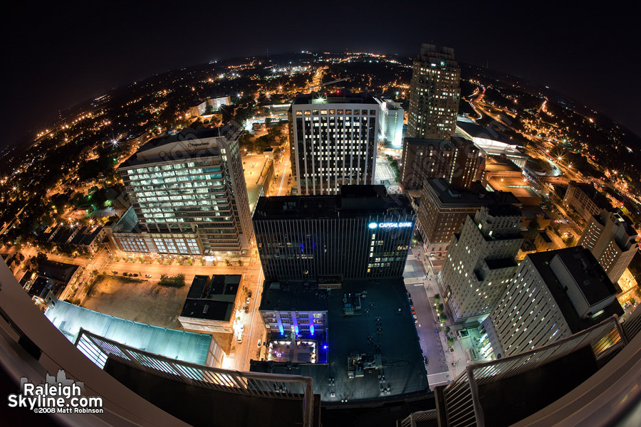 400 feet above Downtown Raleigh at night.