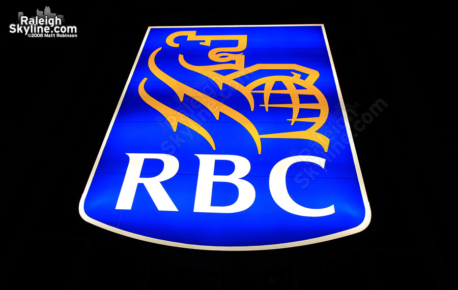 The RBC logo lit up.