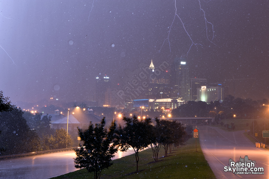 Frozen rain drops and lightning over downtown Raleigh
