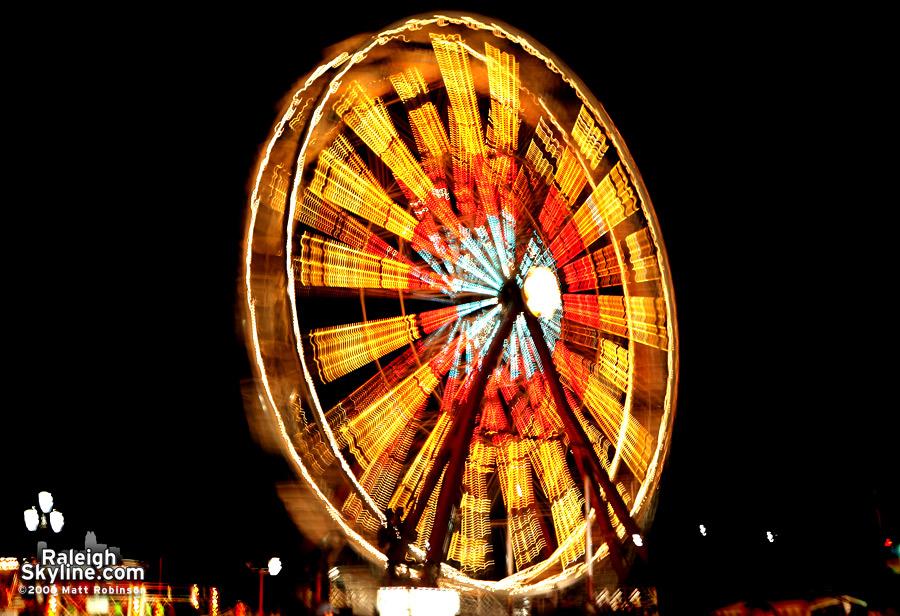 Spinning ferris wheel.