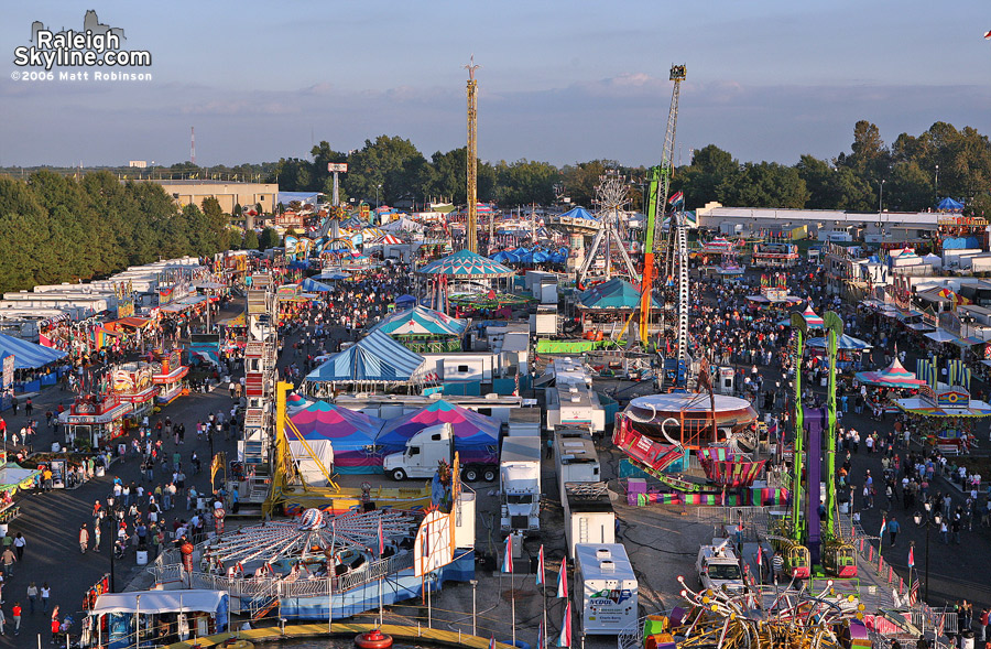 Aerial of the Midway from the main Ferris Wheel at the 2006 North Carolina State Fair.