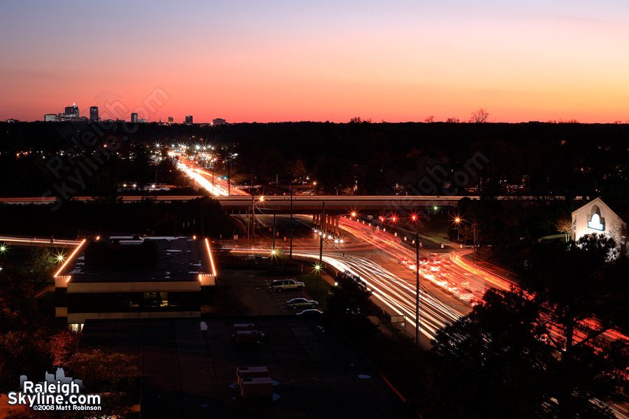 Traffic time lapse from Wake Forest Road at Six Forks