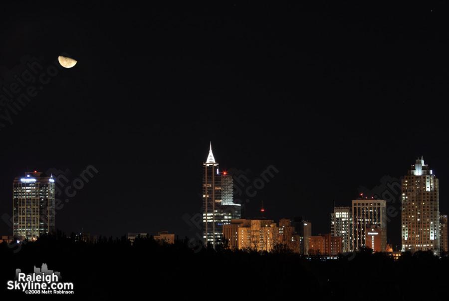Moon over Raleigh Skyline