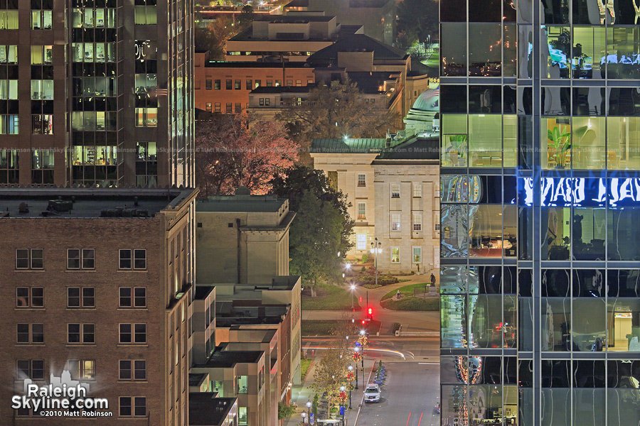 NC Capitol peeks around RBC Plaza viewed from the Capital City Club