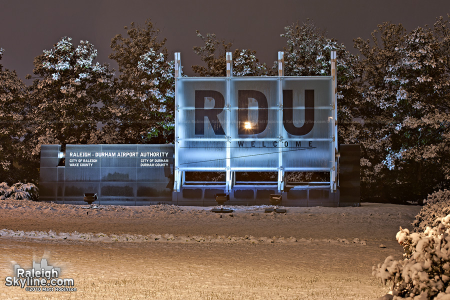 RDU Airport sign in the snow