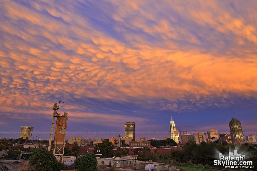 Mammatus sunset in Raleigh