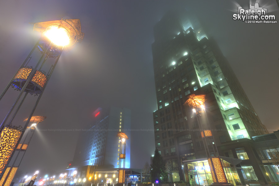 Foggy city plaza