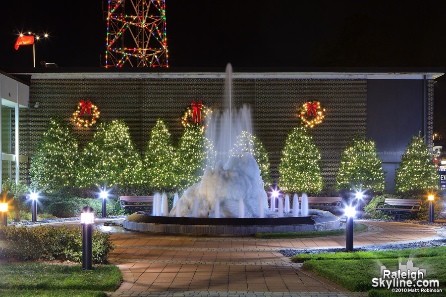 The frozen fountain at WRAL