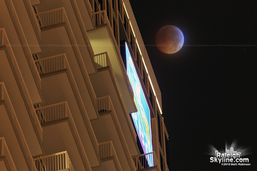 Total Lunar Eclipse with RBC Plaza Balconies