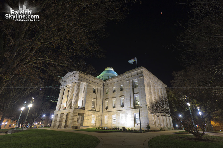 Total Lunar Eclipse with the North Carolina State Capitol in Raleigh