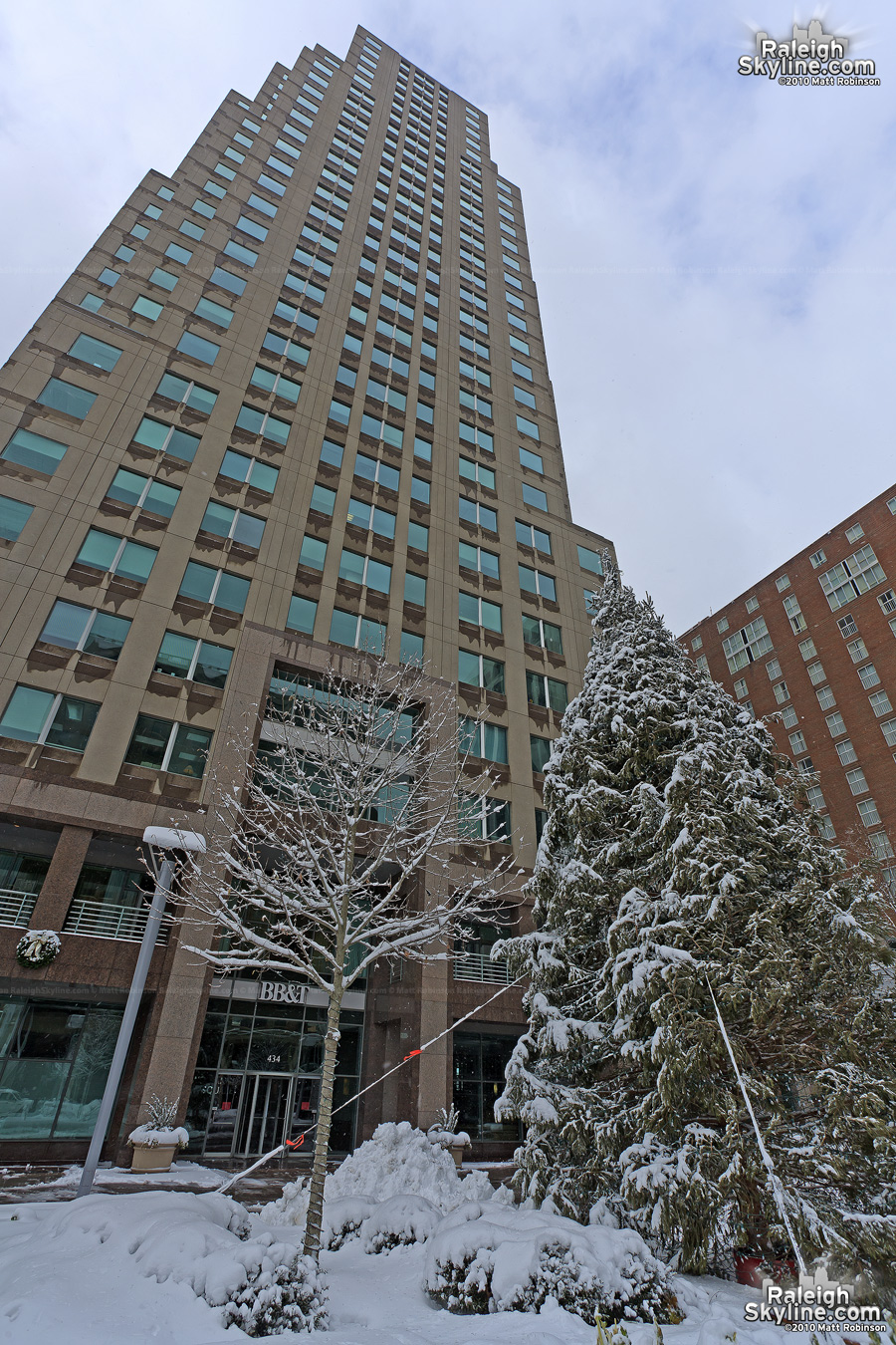 City Plaza Christmas tree covered in snow