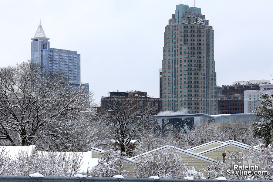 Snowy rooftops and skyline from Western Boulevard