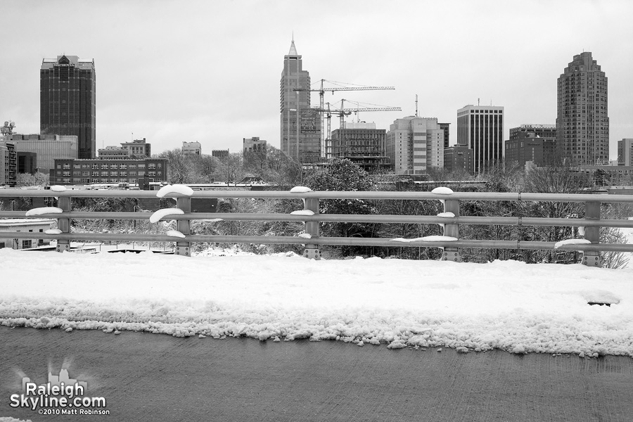Black and white winter scene of Boylan Ave Bridge