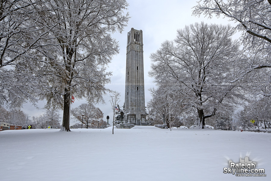 The NC State Bell Tower in the snow