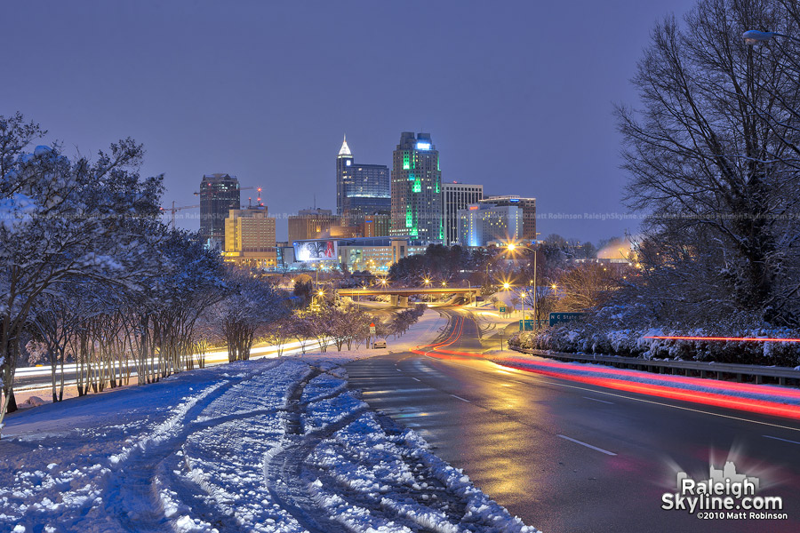 Raleigh Skyline snow scene