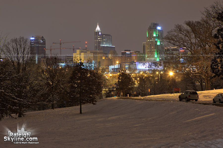 Dorothea Dix with snow at night