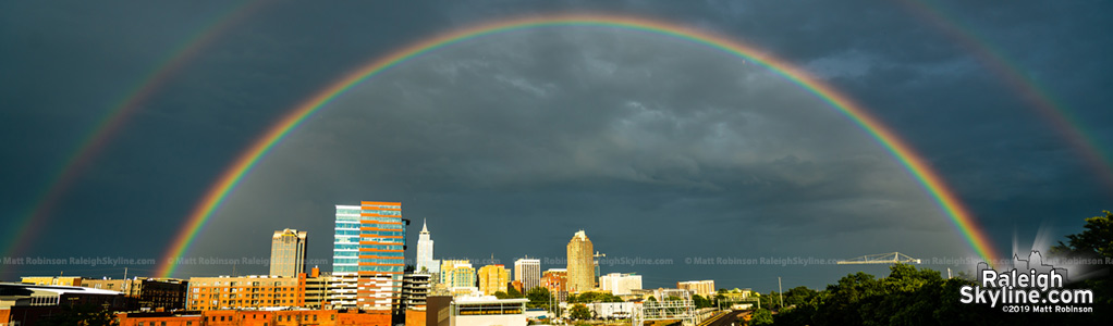 June 2019 Rainbows over downtown Raleigh Skyline