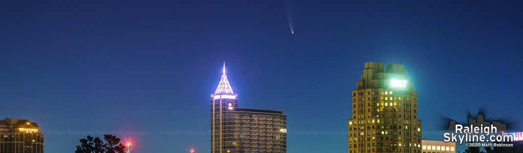 Comet NEOWISE visible over downtown Raleigh
